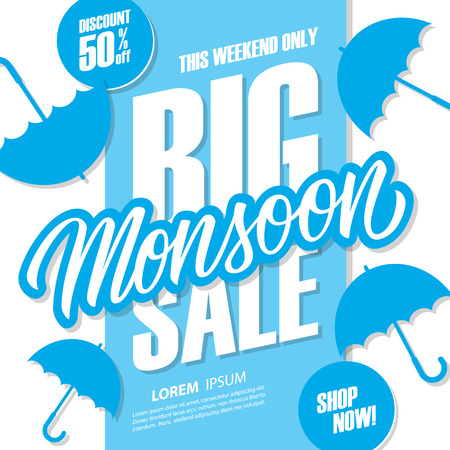Big Monsoon Sale special offer banner with hand drawn lettering and umbrellas for monsoon seasonal shopping, promotion and advertising. Vector illustration.