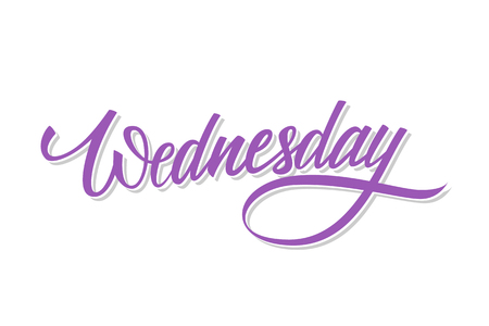 Wednesday, day of the week hand drawn lettering. Calligraphic element for your design. Vector illustration.