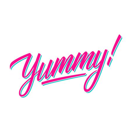 ¡Delicioso! inscripción manuscrita. Tipografía creativa para pancartas, restaurante, menú de cafetería, mercado de alimentos. Ilustración de vector.