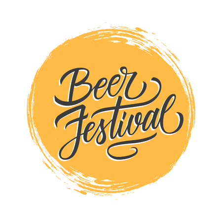 Beer Festival handwritten inscription on yellow circle brush stroke background. Creative typography for promotion and advertising. Vector illustration.