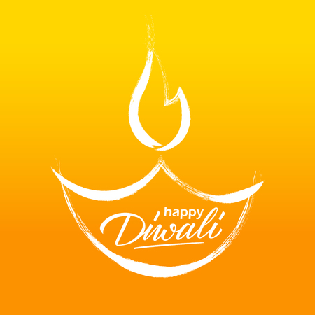 Happy Diwali greeting card with hand drawn oil lamp and hand lettering holiday greetings. Diwali celebration. Indian festival of lights vector illustration. Vektorové ilustrace
