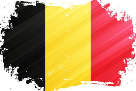 België vlag penseelstreek achtergrond. Nationale vlag van het Koninkrijk België. Vector illustratie. Vector Illustratie