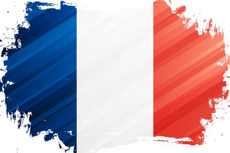 Flag of France brush stroke background. National flag of French Republic. Vector illustration.