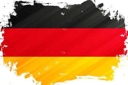 Flag of Germany brush stroke background. National flag of Federal Republic of Germany. Vector illustration. Иллюстрация