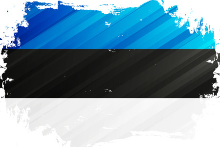 Flag of the Estonia brush stroke background. National flag of Republic of Estonia. Vector illustration.
