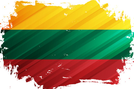 Flag of the Lithuania brush stroke background. National flag of Republic of Lithuania. Vector illustration. Иллюстрация