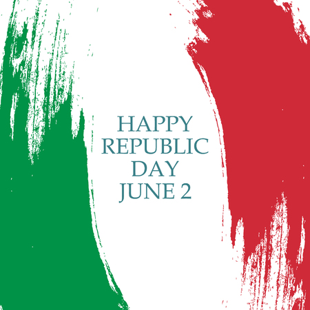 Italian Republic Day, june 2 greeting card with brush stroke in colors of the national flag of Italy. Vector Illustration. Ilustração