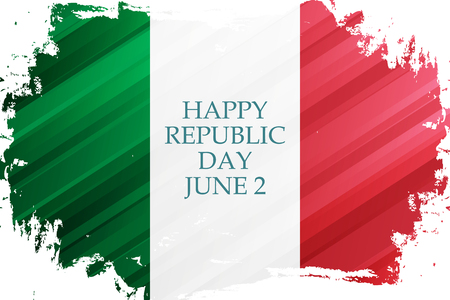 Italian Republic Day, june 2 holiday banner with brush stroke in colors of the national flag of Italy. Vector Illustration.