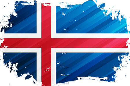 Icelandic Flag brush stroke background. National flag of Iceland. Vector illustration.