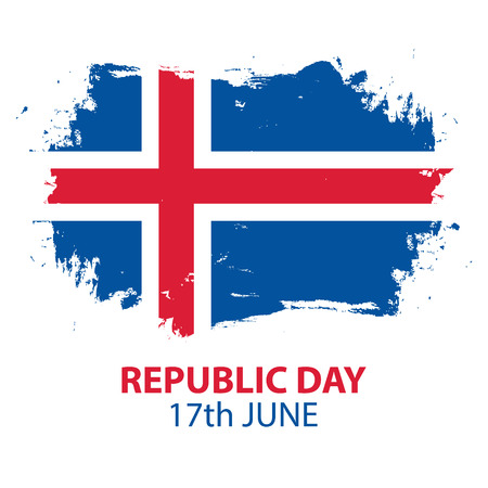 Icelandic Republic Day, 17th june greeting card with brush stroke in colors of the national flag of Iceland. Vector Illustration.