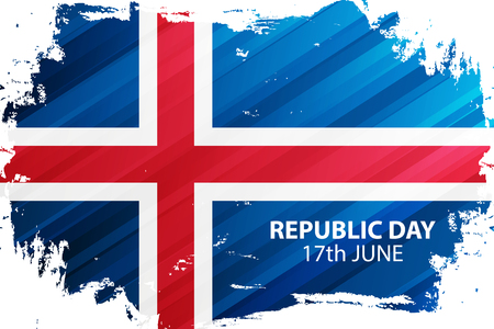 Icelandic Republic Day, 17th june celebrate banner with brush stroke in colors of the national flag of Iceland. Vector Illustration. Ilustracja