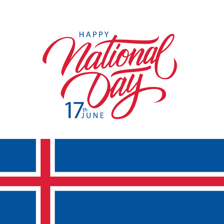 Icelandic Happy National Day, 17th june greeting card with national flag of Iceland and handwritten inscription National Day. Vector illustration.