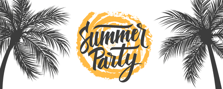 Summer Party banner. Summertime party tropical background with hand drawn lettering Summer Party, brush stroke sun and palm trees. Vector illustration.