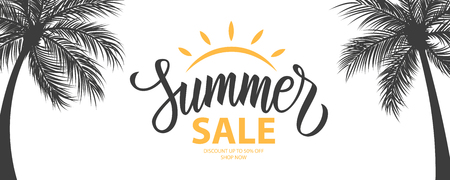 Summer Sale promotional background. Summertime seasonal special offer banner with hand lettering and palm trees for business, seasonal shopping, promotion and advertising. Vector illustration.