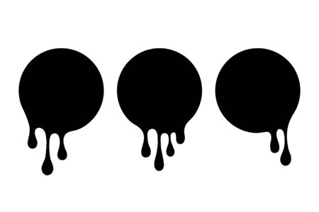 Black blobs set. Drip drops, round spots, splash shapes, ink paint leak or circle liquid black stains isolated collection. Vector illustration. Ilustração