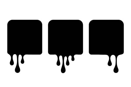 Set of liquid square shapes. Drip drops, square spots, splash shapes, black blobs or liquid black stains isolated collection. Vector illustration.
