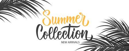 Werbebanner für die Sommerkollektion. Sommersaisonaler Neuankömmlinghintergrund mit Handbeschriftung und Palmblättern für Geschäft, saisonales Einkaufen, Promotion und Werbung. Vektor-Illustration.