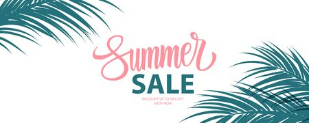 Summer Sale special offer banner. Summertime seasonal background with hand lettering and palm leaves for business, seasonal shopping, promotion and advertising. Vector illustration.