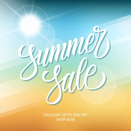 Summer Sale promotional banner. Summertime seasonal special offer background with hand lettering and summer sun for business, seasonal shopping, promotion and advertising. Vector illustration.