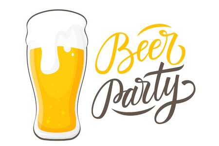 Beer Party handwritten inscription with glass of beer. Perfect for promotion, advertising, invitation and party poster. Vector illustration. Illustration