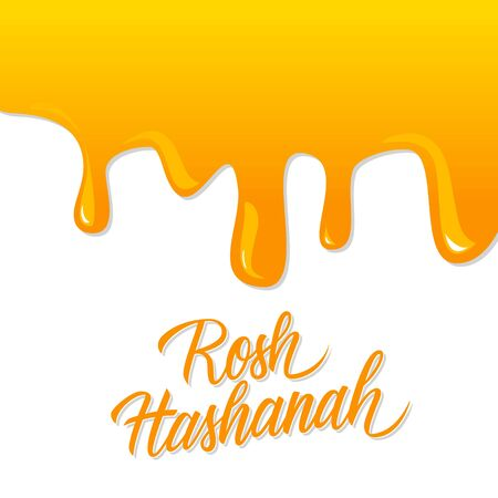 Rosh Hashanah hand lettering with liquid honey background. Jewish New Year holiday card. Perfect for holiday greetings and invitations. Phrase translated Happy New Year. Vector illustration.