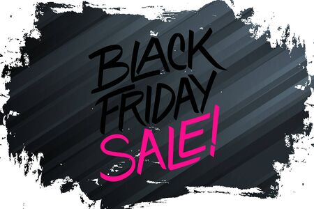 Black Friday Sale banner with brush stroke background and hand lettering text design for discount shopping, business, promotion and advertising. Vector illustration.