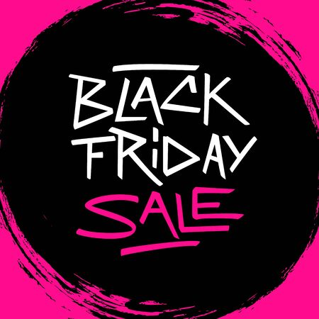 Black Friday Sale promotional sign with handwritten inscription on black circle brush stroke background for commerce, business and advertising. Vector illustration.