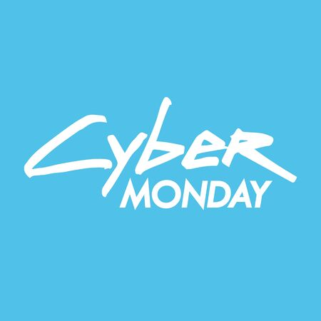 Cyber Monday hand drawn lettering text design. Creative typography for discount shopping, commerce, promotion and advertising. Vector illustration.