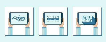 Cyber Monday Sale promotional flat design cards set for cyber monday discount shopping, business, commerce and advertising. Vector illustration.