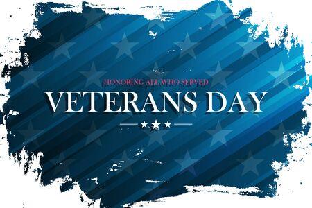 United States Veterans Day celebrate banner with brush stroke background. USA national holiday vector illustration. Ilustrace