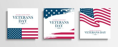 USA Veterans Day greeting cards set with United States national flag. Honoring all who served. United States national holiday vector illustration. Ilustrace