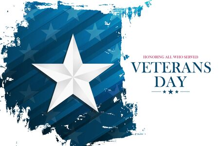 United States Veterans Day celebrate banner with silver star on brush stroke background. USA national holiday vector illustration.