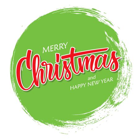 Merry Christmas and Happy New Year greeting card with hand drawn lettering and circle brush stroke background. Vector illustration.