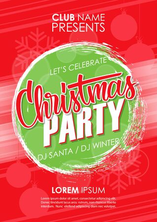 Christmas Party poster template with hand drawn lettering and brush stroke background. Vector illustration.