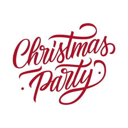 Christmas Party hand drawn lettering text design card template. Creative typography for christmas party posters and invitations. Vector illustration. Ilustracja
