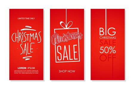 Christmas Sale flyers collection with hand lettering for business, commerce, promotion and advertising. Red background. Vector illustration. Banque d'images - 130775659