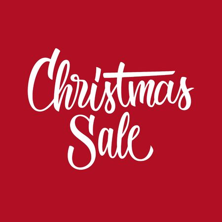 Christmas Sale hand drawn lettering text design template. Creative typography for business, promotion and advertising. Vector illustration. Ilustracja