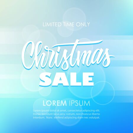 Christmas Sale special offer banner with hand drawn lettering text design and blurred background. Vector illustration. Ilustracja