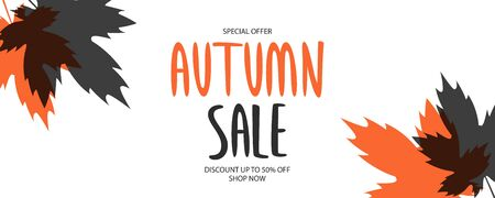 Autumn Sale special offer banner. Fall season background with hand lettering and autumn maple leaves for business, seasonal shopping, promotion and advertising. Vector illustration. Ilustracja