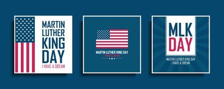 Martin Luther King Day celebrate cards set with United States national flag. MLK day collection. USA national holiday vector illustration. Vektorgrafik