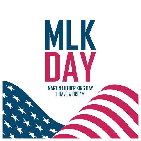 MLK Day celebrate card with waving United States flag. Martin Luther King Day. USA national holiday vector illustration. Vektorgrafik