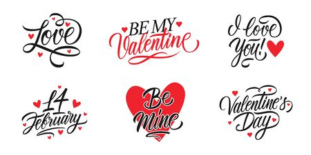 Valentines Day romantic lettering set. Happy Valentine's Day, 14 february holiday greetings. Vector Illustration.