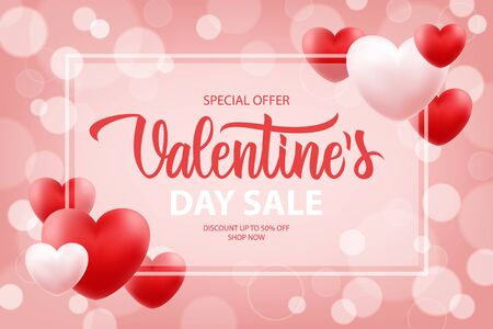 Valentine's Day Sale special offer promotional banner with hand drawn lettering and hearts for holiday shopping. Discount up to 50% off. Shop now. Vector illustration.