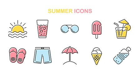 Summer line icons set. Summertime outline symbols. Vacation and relax. Vector illustration.