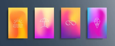 Blurred backgrounds set with modern abstract blurred color gradient patterns and summer line icons. Summertime collection for brochures, posters, banners, flyers and cards. Vector illustration. Иллюстрация