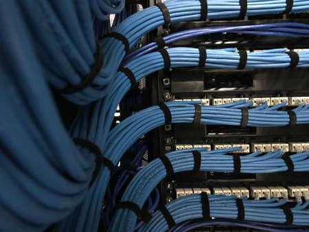 Grand groupe de câbles UTP, câbles dans l'armoire rack, câbles UTP d'un panneau de brassage dans le rack du serveur dans la salle du centre de données