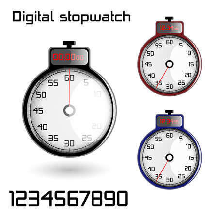 metering: Set of 3D stopwatches on a white background Illustration