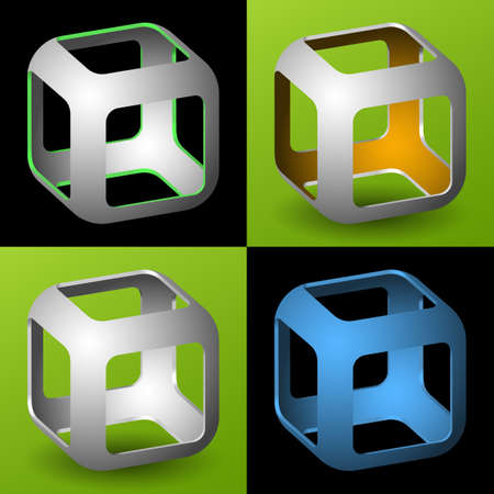 smoothed: smoothed 3D cube with openings Illustration