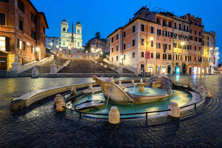 Spanish Steps at dusk in Rome, Italy Editorial