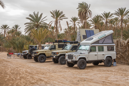 All wheel drive cars at the camping of Douz, Tunesia